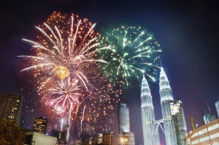 colour: Malaysia Fireworks on New Year