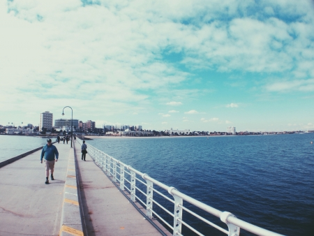 st kilda: St Kilda walking bridge at seaside
