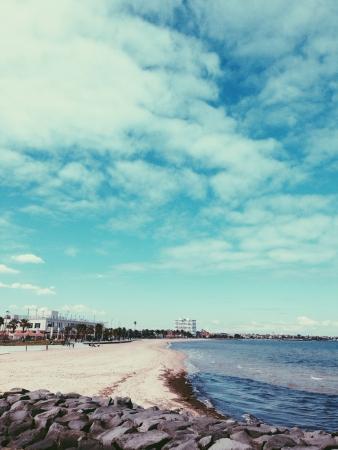 st kilda: St Kilda beach side with rock