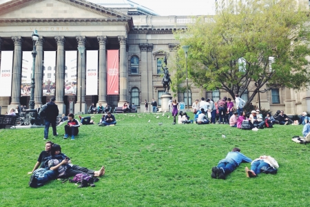 lonsdale: Outside of State Library of Victoria