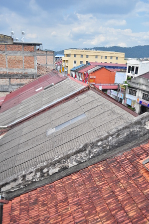 roofed house: Asia old houses rooftop Stock Photo