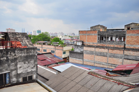 Asia old houses rooftop photo