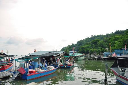 Old grunge fishing boats photo