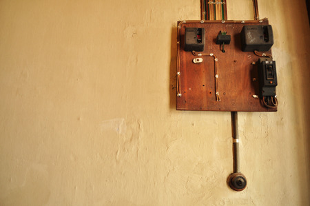 bakelite: Old Vintage bakelite light switch system Stock Photo