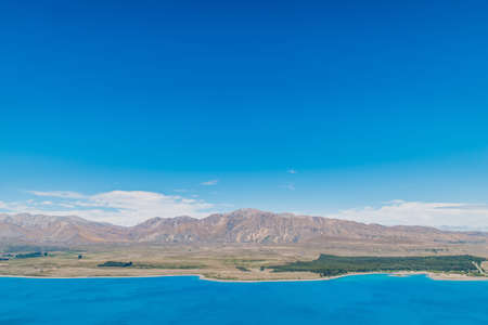 Clear Blue sky with lake and mountain