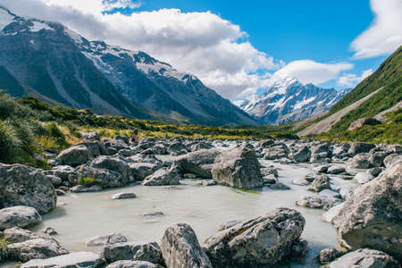 Hiking trail at mount cook in new zealand