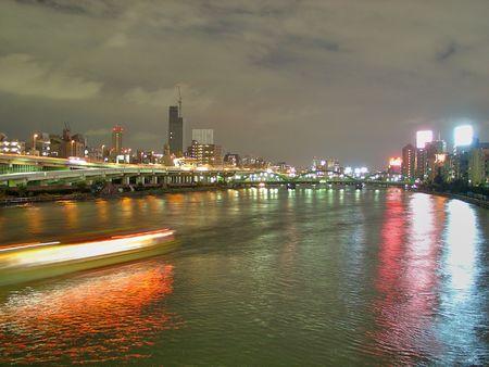 tokyo japan: Sumidagawa River at night in Asakusa district in Tokyo, Japan. Stock Photo