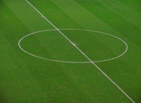 futbol: Real Madrid's Stadium campo medio cerchio, in cui tutte le partite di inizio e dove la storia del calcio � stato scritto per pi� di 100 anni. Tempio di Calcio in Spagna.  Archivio Fotografico