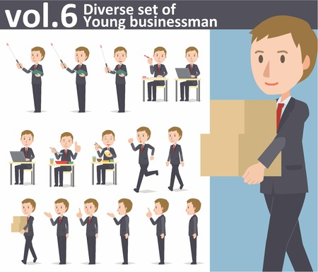 Diverse set of young businessman on white background