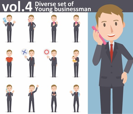 holding smart phone: Diverse set of young businessman on white background