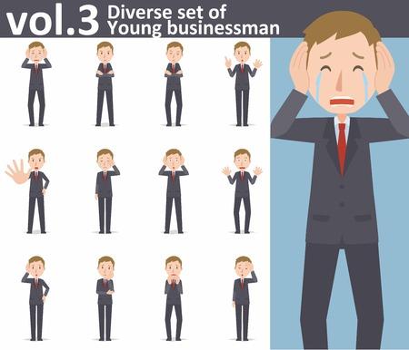 Diverse set van jonge zakenman op witte achtergrond