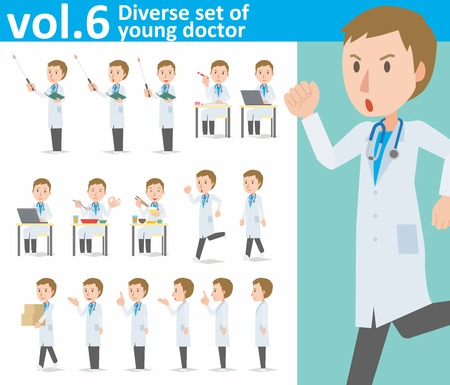diverse set of young doctor on white background
