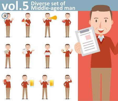 diverse set of Middle-aged man on white background Ilustração