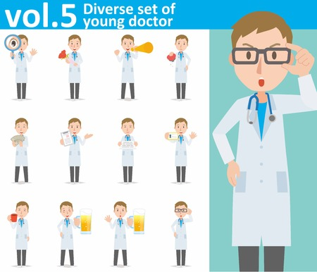 diverso conjunto de joven médico sobre fondo blanco Ilustración de vector