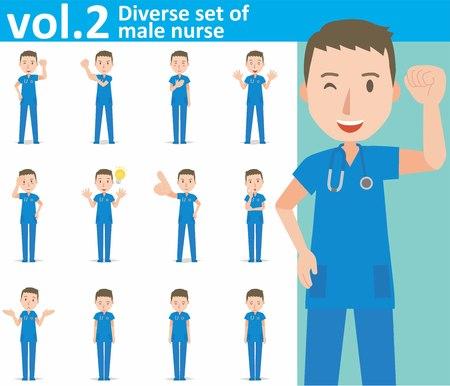 diverse set of male nurse on white background