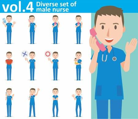 sweaty: diverse set of male nurse on white background Illustration