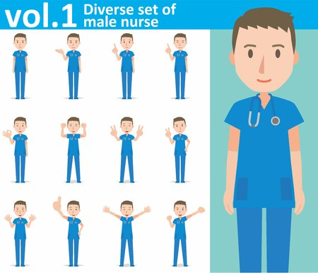 diverse set of male nurse on white background Vectores