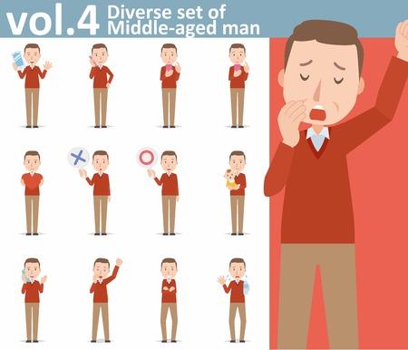 sweaty: diverse set of Middle-aged man on white background Illustration
