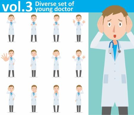 conjunto diverso de joven médico sobre fondo blanco