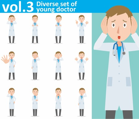 Diverse set of young doctor on white background Vettoriali