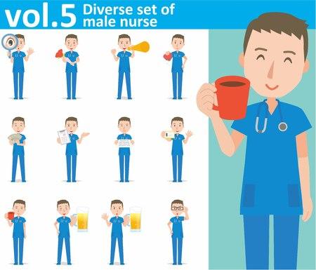 diverse set of male nurse on white background Illustration