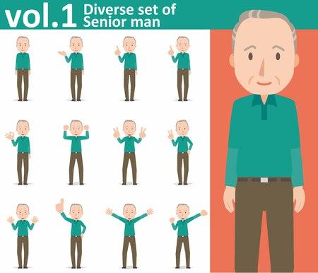 cheer: diverse set of Senior man on white background