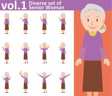 白い背景の上の古い女性の多様なセット