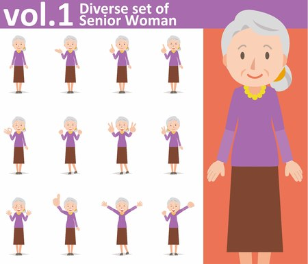 diverse set of old woman on white background Ilustracja