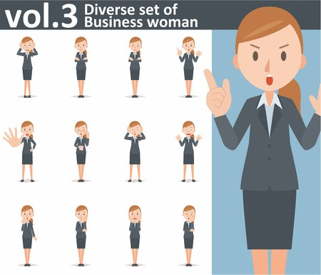 business woman: Diverse set of business woman on white background Illustration