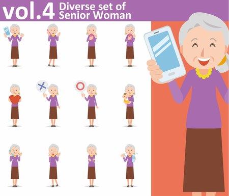 diverse set of old woman on white background Vettoriali