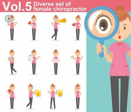 chiropractor: Diverse set of female chiropractor on white background Illustration