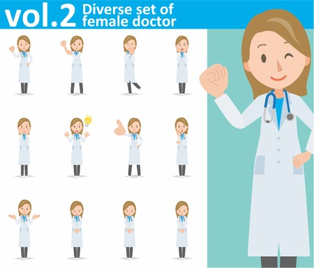 white coat: Diverse set of young female doctor on white background eps10 vector format vol.2