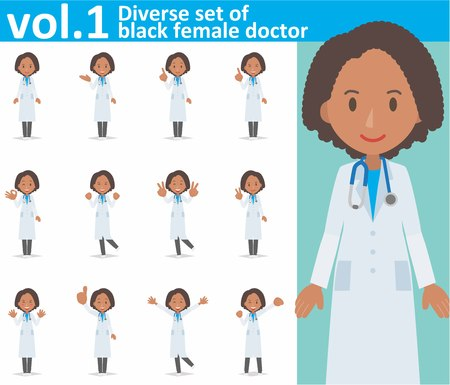 diverse set of black female doctor on white background eps10 vector format vol.1