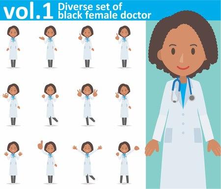 insieme vario di medico femminile nero sul formato vol.1 bianco di vettore del fondo eps10