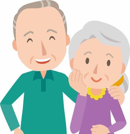Happy smiling senior couple Stock Illustratie