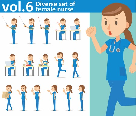 Diverse set of female nurse on white background vector format vol.6