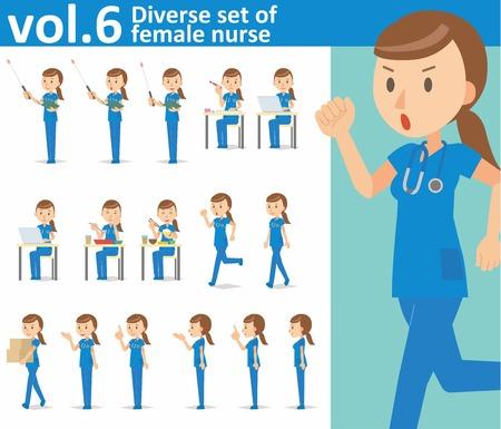 nurse practitioner: Diverse set of female nurse on white background vector format vol.6