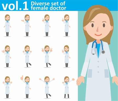 Eps10 vector format vol.1, diverse set of young female doctor on white background Vectores