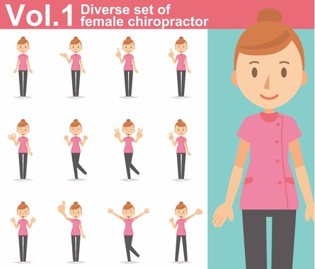 Diverse set of female chiropractor on white background Vettoriali