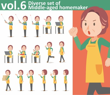 homemaker: Diverse set of middle-aged homemaker wearing an apron on white background EPS10 vector format vol.6