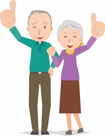 Happy smiling senior couple Illustration