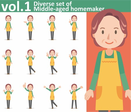 homemaker: diverse set of middle-aged homemaker wearing an apron on white background