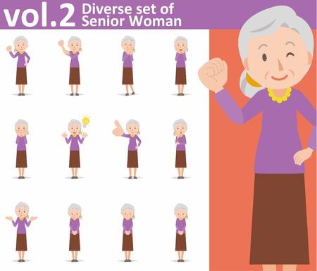 conjunto diverso de la mujer mayor en el fondo blanco