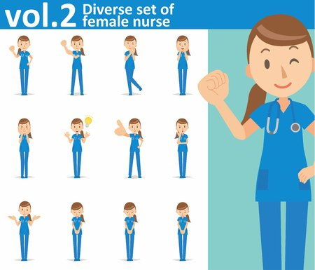 Diverse set of female nurse on white background Illustration