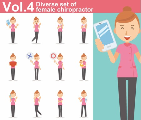 physiotherapist: Diverse set of female chiropractor on white background Illustration