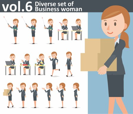 Diverse set of business woman on white background Ilustração