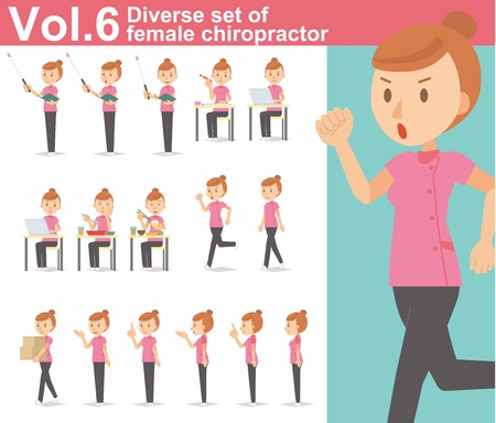 Diverse set of female chiropractor on white background Illustration