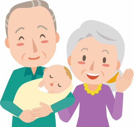 happy mature couple: Senior couple with baby grandson