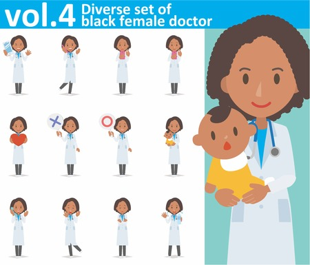diverse set of black female doctor on white background