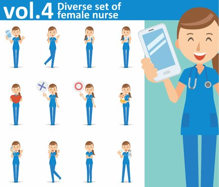 Diverse set of female nurse on white background Vectores